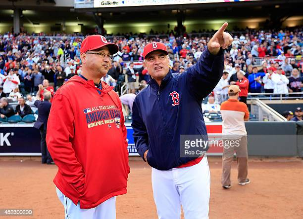 American League managers Terry Francona of the Cleveland Indians and John Farrell of the Boston Red Sox talk prior to the Gillette Home Run Derby at...