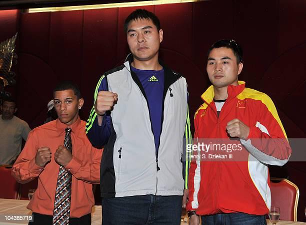 American Light Bantamweight Boxer Miguel Cartagena Chinese Super Heavyweight Boxer Zhang Zhilei and Chinese Super Middleweight Boxer Zhang Jianting...