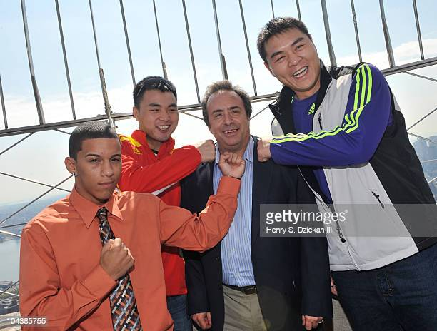 American Light Bantamweight Boxer Miguel Cartagena Chinese Super Middleweight Boxer Zhang Jianting boxing promoter Dino Duva and Chinese Super...