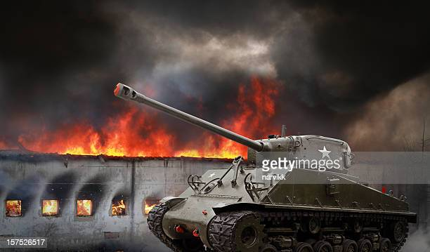 American M4 Sherman Tank in Action
