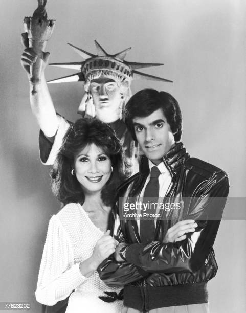 American magician David Copperfield with actress and singer Michele Lee who is to guest star in the illusionist's upcoming CBS special entitled 'The...