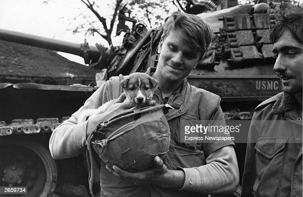 American marines with their pet dog in Vietnam