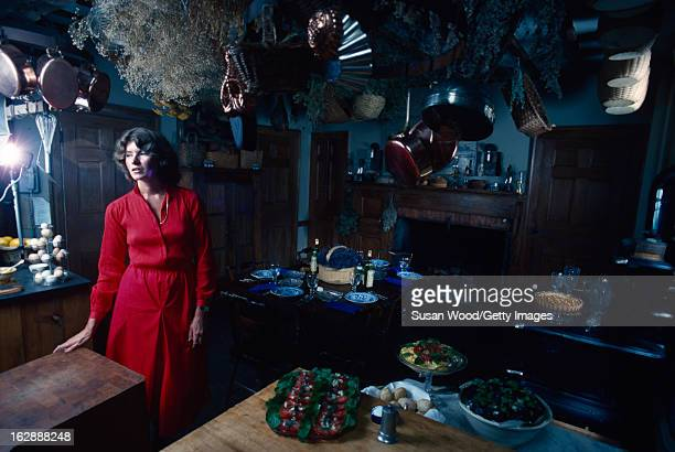 American media mogul and businesswoman Martha Stewart in a red dress stands in a kitchen August 1976 Behind her is a table set with plates wine...