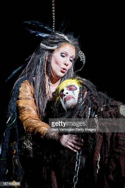 American mezzosoprano Joyce DiDonato and Italian bassbaritone Luca Pisaroni perform during the final dress rehearsal of the Metropolitan Opera/Phelim...