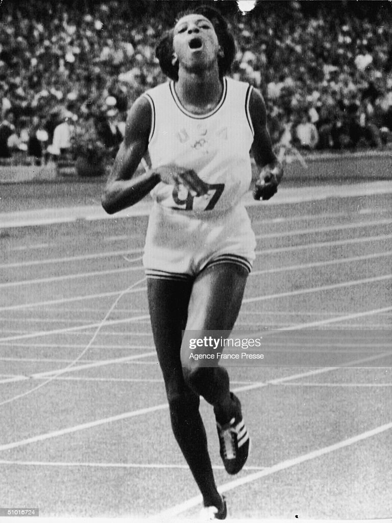 American middle-distance runner Madeleine Manning breaks an Olympic record and wins the gold medal with her time of 2:00.9 in the women's 800 meter final, Mexico City, Mexico, October 20, 1968.