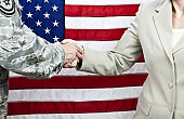 American Military and Civilian Handshake