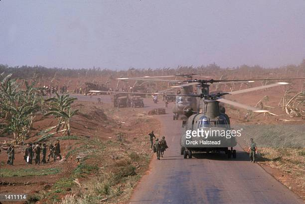 American military Chinook helicopters April 1975 help in the evacuation of Saigon America''s involvement in the Vietnam War ended as troops from...