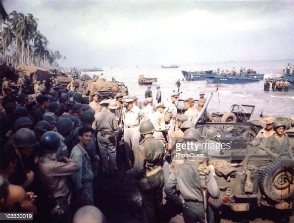 American military commander General Douglas MacArthur accompanied by Lieutenant General George C Kenney Lieutenant General Richard K Sutherland and...