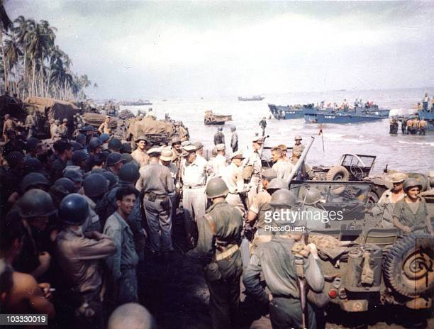 American military commander General Douglas MacArthur accompanied by Lieutenant General George C Kenney Lieutenant General Richard K Sutherland and...