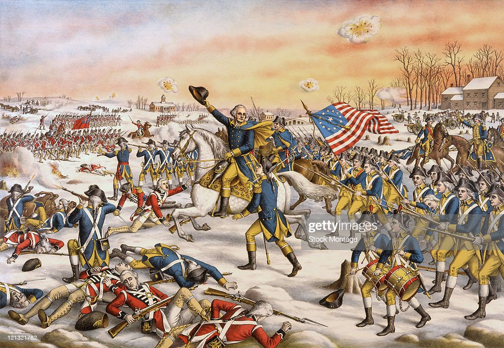American military commander (and future US President) General George Washington (center) leads the Continental Army in the Battle of Princeton during the American Revolutionary War, Princeton, New Jersey, January 3, 1777.