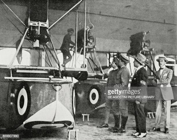 American military mission visiting the Savoia airplane factory in Sesto Calende Italy World War I from L'Illustrazione Italiana Year XLIV No 30 July...