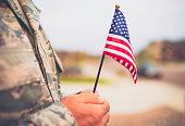 American military soldier with flag. Patriotic theme