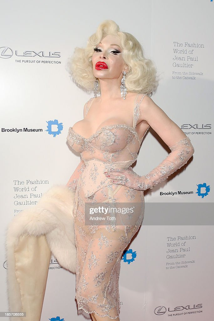 American model Amanda Lepore attends the VIP reception and viewing for The Fashion World of Jean Paul Gaultier: From the Sidewalk to the Catwalk at the Brooklyn Museum on October 23, 2013 in the Brooklyn borough of New York City.