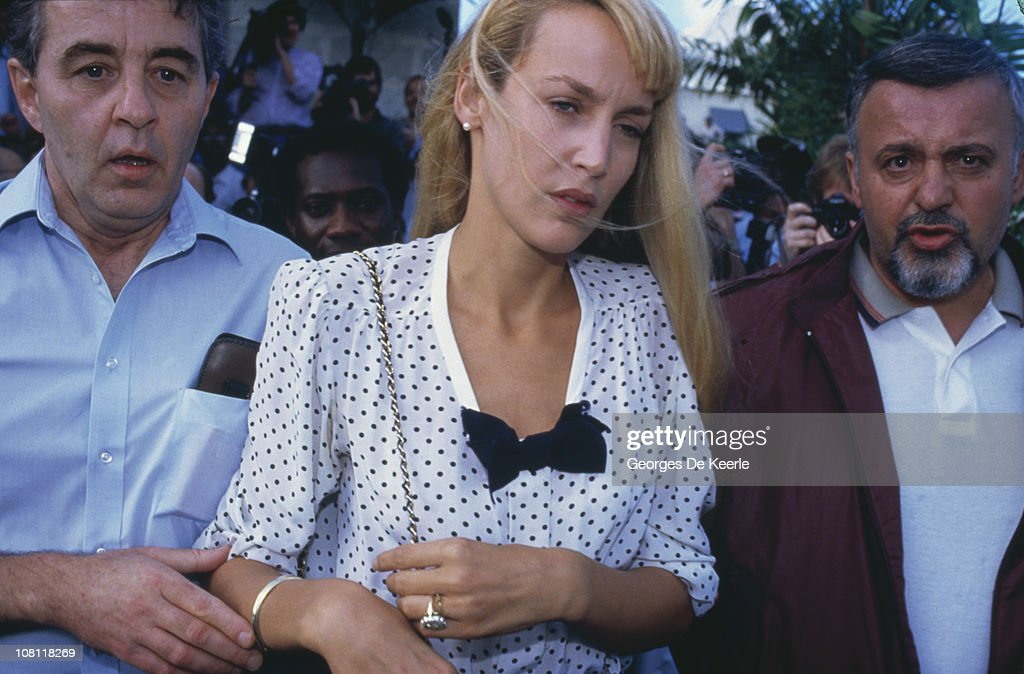 American model and actress <a gi-track='captionPersonalityLinkClicked' href=/galleries/search?phrase=Jerry+Hall&family=editorial&specificpeople=171120 ng-click='$event.stopPropagation()'>Jerry Hall</a> is arrested in Barbados, on charges of marijuana smuggling, February 1987.