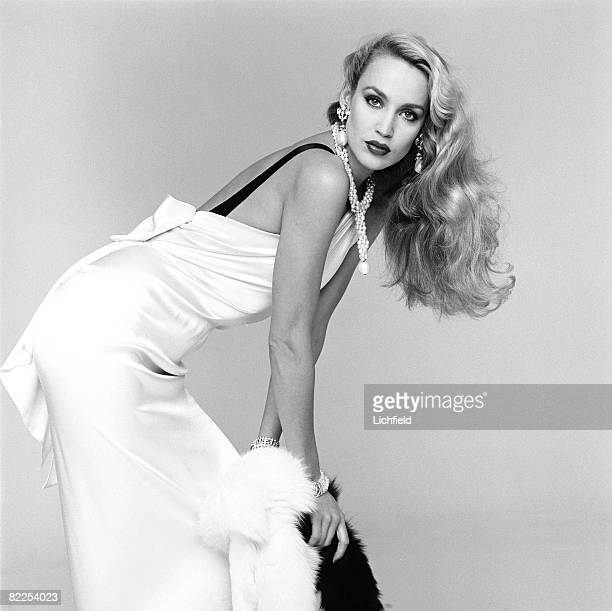 American model and actress Jerry Hall photographed in the Studio 7th November1980 For the book 'Lichfield The Most Beautiful Women'
