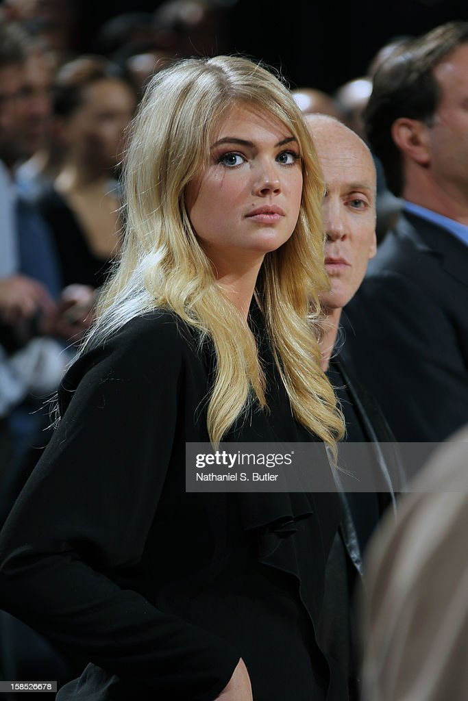 American model and actress Kate Upton looks on prior to the Houston Rockets vs the New York Knicks on December 17, 2012 at Madison Square Garden in New York City.