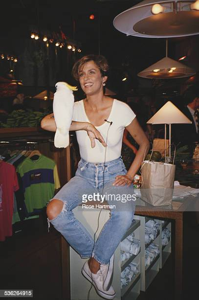 American model and actress Lauren Hutton at the Giorgio Armani store New York City USA July 1989