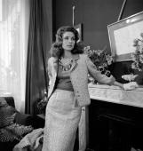 American model and actress Suzy Parker appears on the CBS interview series 'Person to Person' filmed at the Hotel Plaza Athenee in Paris France...