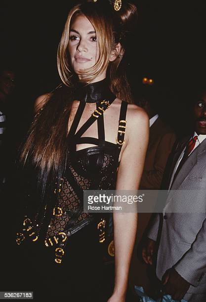 American model Cindy Crawford at a party for Gianni Versace Park Avenue Armory New York City USA 1992