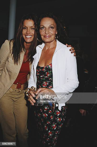 American model Janice Dickinson and fashion designer Diane von Fürstenberg at von Fürstenberg's Spring 2003 fashion show New York City USA 2002