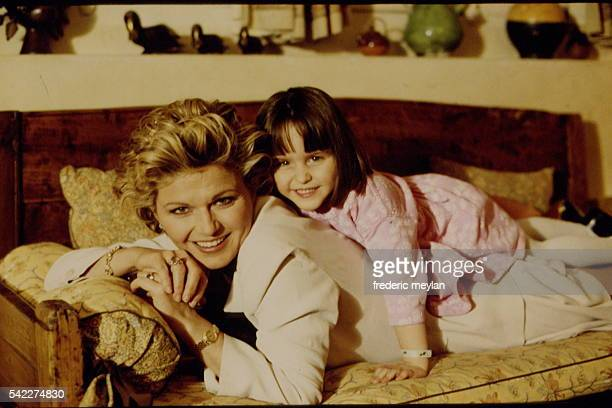 American model singer and actress Jeane Manson at home with daughter