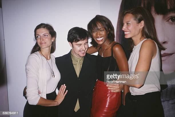 LR American model Stephanie Seymour makeup artist and photographer François Nars English model Naomi Campbell and American model Christy Turlington...