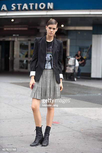American model Taja Feistner exits the Diesel Black Gold show on Day 6 of New York Fashion Week Spring/Summer 2015 on September 9 2014 at Skylight at...