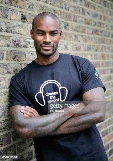 American model Tyson Beckford poses for photographs prior to meeting a group of young people who have been funded by The Prince's Trust to set up a...