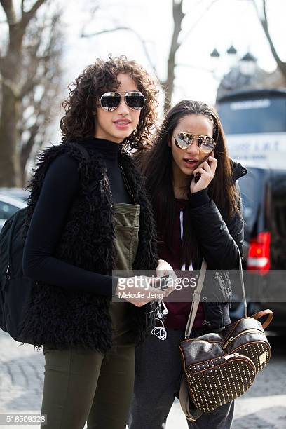 American models Alanna Arrington and Selena Forrest after the Chanel show at Grand Palais on March 07 2016 in Paris France Both girls wears...