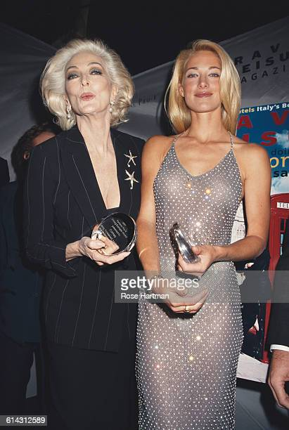 American models Carmen Dell'Orefice and Elaine Irwin Mellencamp at the 50th Anniversary celebration of the Ford Modeling Agency at the Guggenheim...