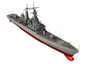 American Modern Warship Over White Background. 3D Illustration.