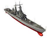 American Modern Warship Over White Background. 3D Illustration.