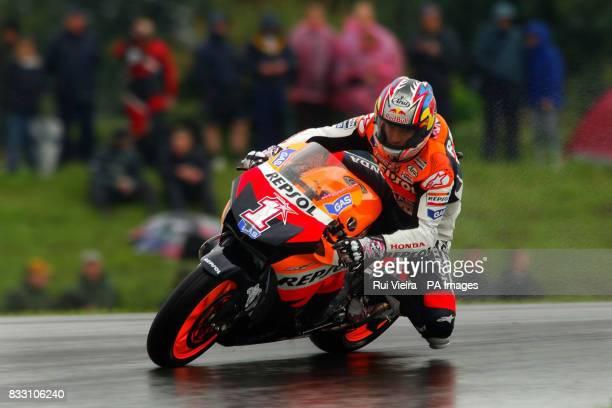 American Moto GP Honda rider Nicky Hayden during a wet practice session at Donington Park Castle Donington