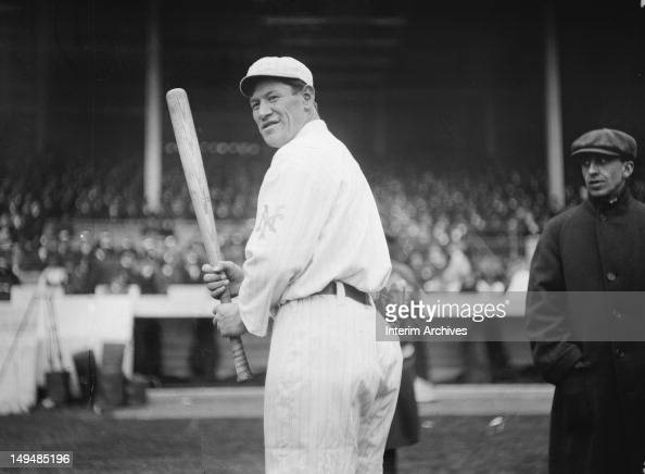 American multisport athlete and Olympic gold medalist Jim Thorpe here of the New York Giants baseball team waits for a pitch during a game at the...