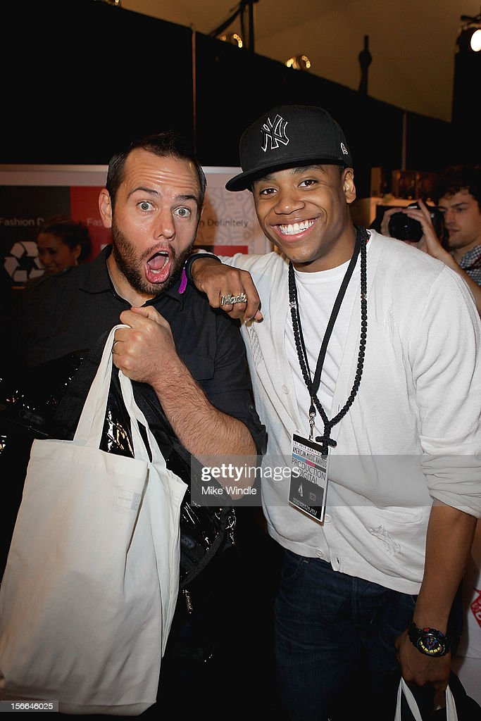American Music Awards red carpet hosts Shay Carl (L) and <a gi-track='captionPersonalityLinkClicked' href=/galleries/search?phrase=Tristan+Wilds&family=editorial&specificpeople=3025356 ng-click='$event.stopPropagation()'>Tristan Wilds</a> attend The 40th American Music Awards - EKOCYCLE Gift Suite Day 2 at Nokia Theatre L.A. Live on November 17, 2012 in Los Angeles, California.