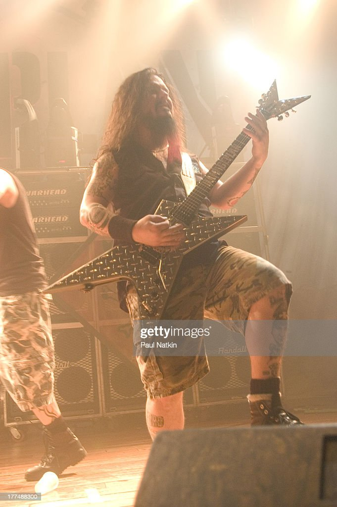 American music group Damageplan performs on stage at the House of Blues, Chicago, Illinois, April 8, 2004. Pictured is Dimebag Darrell (born Darrell Lance Abbott, 1966 - 2004).