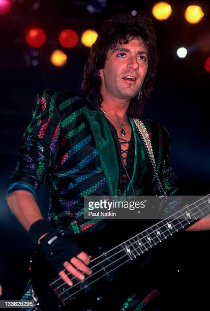 American musician Alec John Such of the band Bon Jovi performs on stage Illinois early March 1987