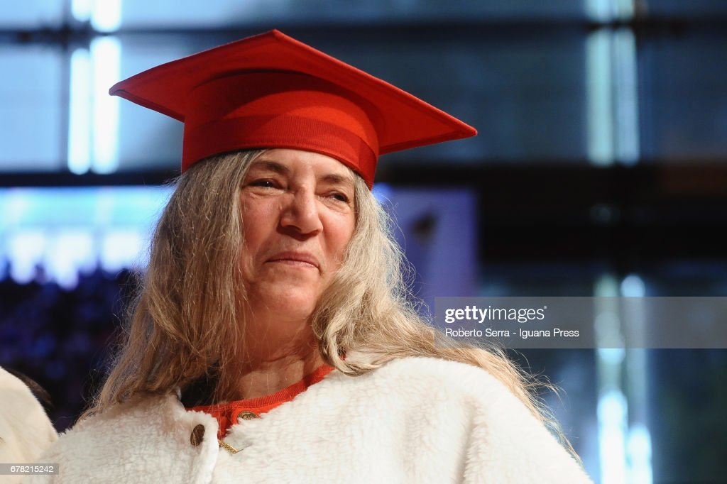 American musician and authoress Patti Smith receives an honorary degree in Literature from the University of Parma during a ceremony at Audtorium Paganini on May 3, 2017 in Parma, Italy.
