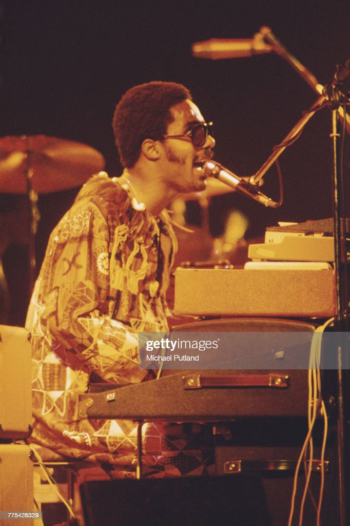 American musician and singer Stevie Wonder performs on stage in London in October 1975.