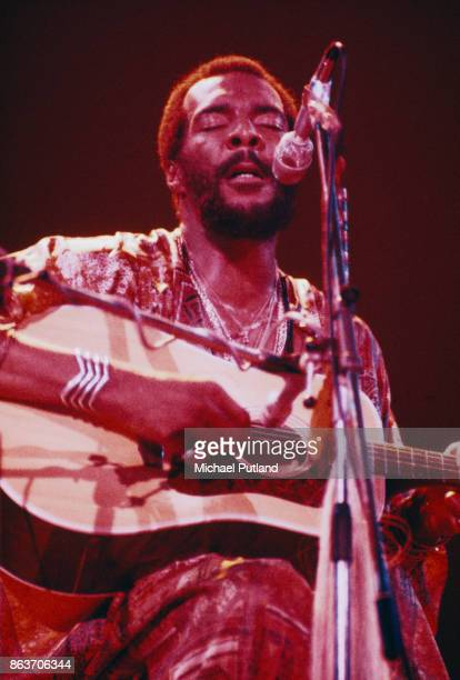 American musician and singersongwriter Richie Havens performing at the London Music Festival Alexandra Palace London 30th July 1973