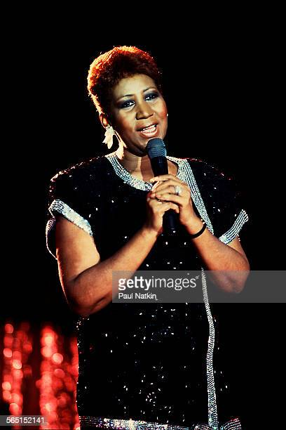 American musician Aretha Franklin performs on stage at the Hyatt Hotel during the 1985 NBA AllStar Game celebration Chicago Illinois April 18 1985