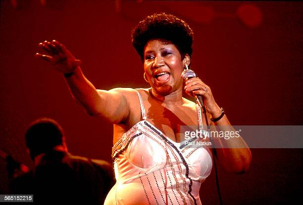 American musician Aretha Franklin performs on stage at the Park West Auditorium Chicago Illinois March 23 1992