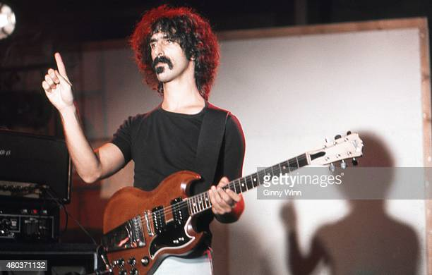 American musician bandleader songwriter composer recording engineer record producer and film director Frank Zappa in his studio 1974 in Los Angeles...