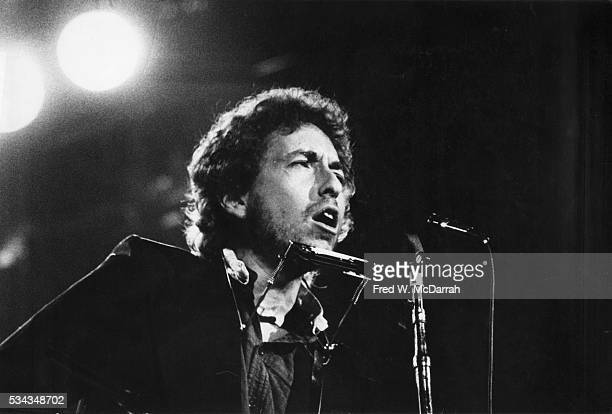 American musician Bob Dylan performs onstage at the Spectrum Philadelphia Pennsylvania January 6 1974
