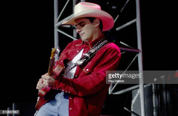 American musician Brad Paisley performs onstage during the George Strait Country Music Festival Chicago Illinois May 25 2001