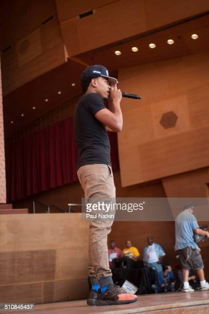 American musician Chance the Rapper performs onstage at the Pritzker Pavilion in Millennium Park Chicago Illinois August 27 2014