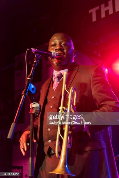 American musician Charlton Singleton of the group Ranky Tanky plays trumpet as he performs during GlobalFest 2017 on the Studio Stage at Webster Hall...