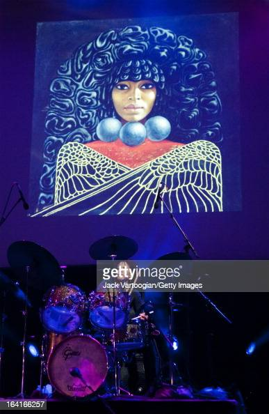 American musician Cindy Blackman plays drums during a performance with the Bitches Brew Revisited band at a Celebrate Brooklyn/CareFusion Jazz...