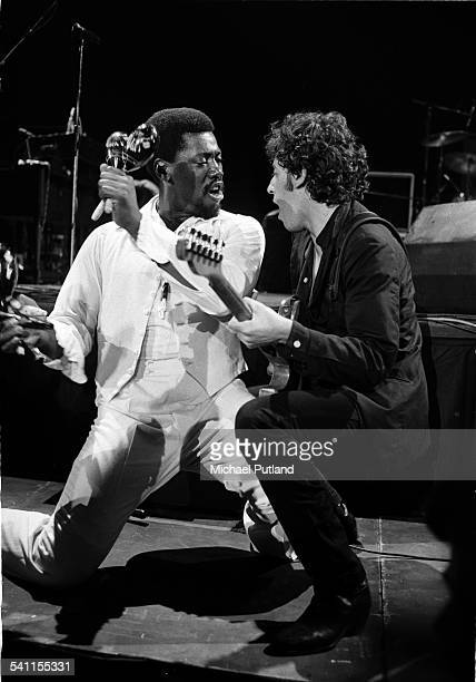 American musician Clarence Clemons and singer Bruce Springsteen on stage during their West Coast tour of the USA 1978