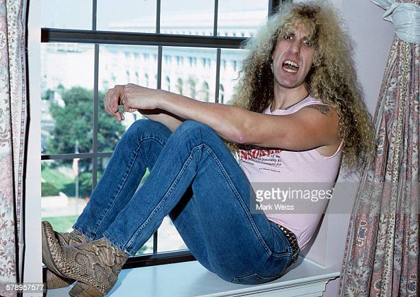 American musician Dee Snider of Twisted Sister pictured in a hotel room during the PMRC senate hearing at Capitol Hill Washington DC United States...